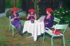 Red-Hat-Society-in-de-theetuin.-60x60-acryl